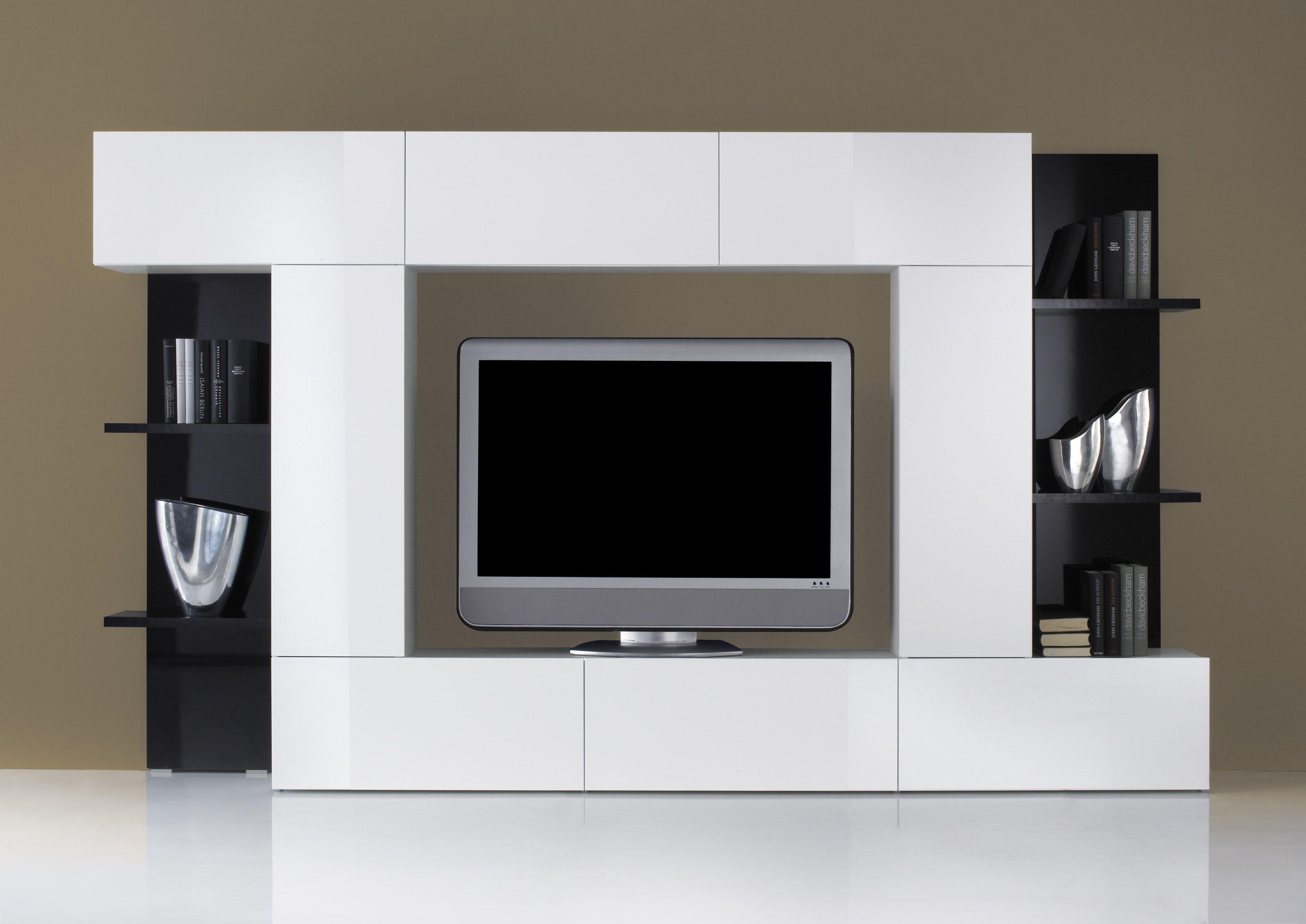 Mobile soggiorno porta tv dado parete attrezzata bianca pannelli neri ebay - Grand meuble tele ...