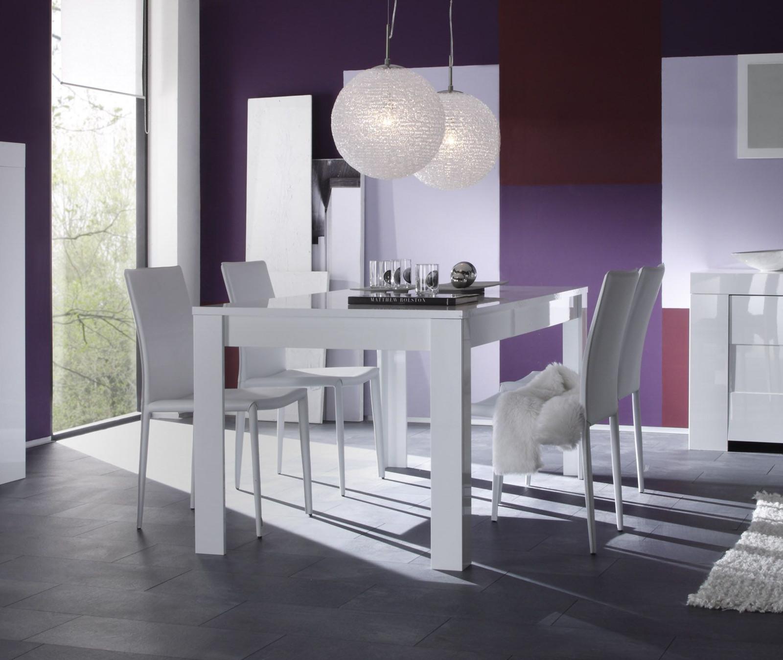 Tavolo moderno da salotto eos piana fissa da 180 o 160 cm - Tavolo bianco laccato lucido ...
