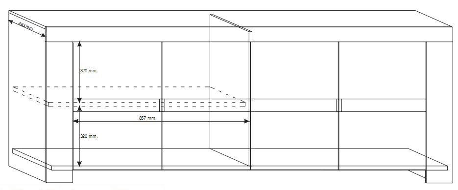 ... moderna EOS 4 ante madia legno Rovere Grigio mobile Buffet contenitivo
