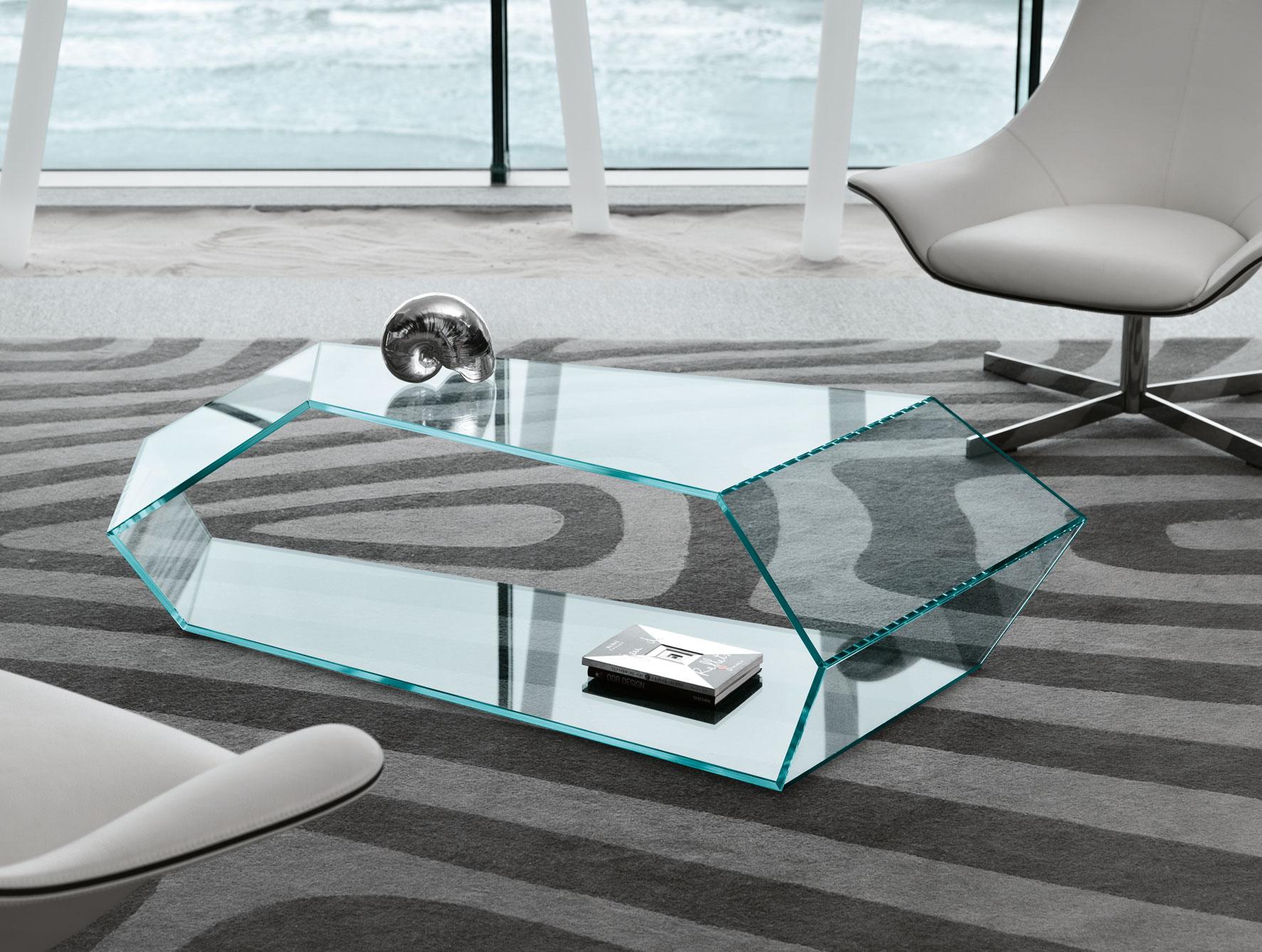 Tavolino soggiorno DEKON 2 TONELLI tavolinetto da salotto in vetro ...