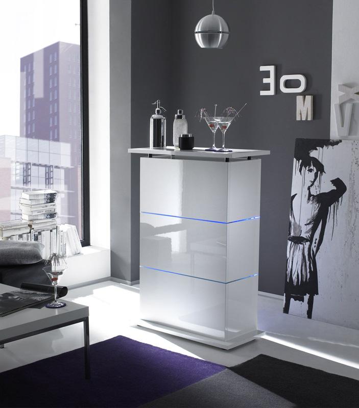 Angolo Bar Moderno Salotto.Mobile Bar Con Led Contenitore Laccato Lucido Bianco Design